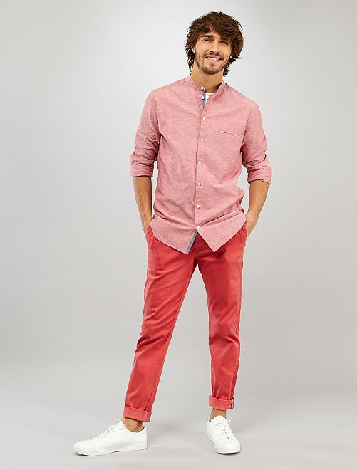 Camisa slim con cuello mao                                                                 rojo granate