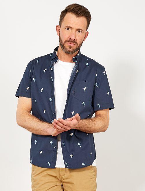 Camisa slim con estampado de colibrí                                                                                                                                                                                                                                         AZUL Hombre