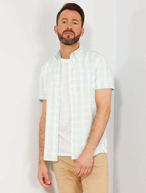 Camisa slim con estampado de cuadros                                                                                                                             AZUL