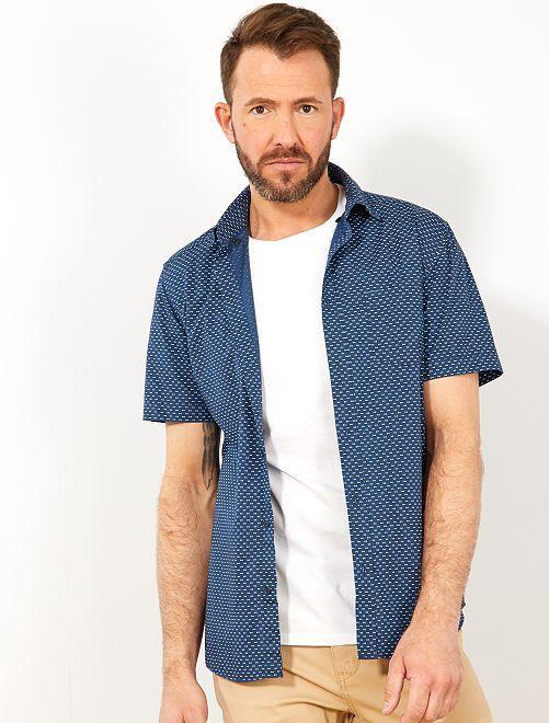 Camisa slim con estampado de lunares                                                                                                                                                     AZUL Hombre