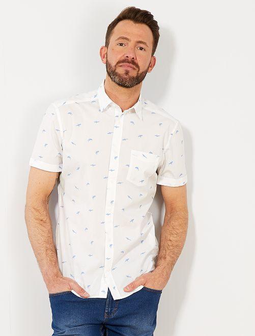 Camisa slim con estampado de tiburón                                                                                                                                                     BLANCO Hombre