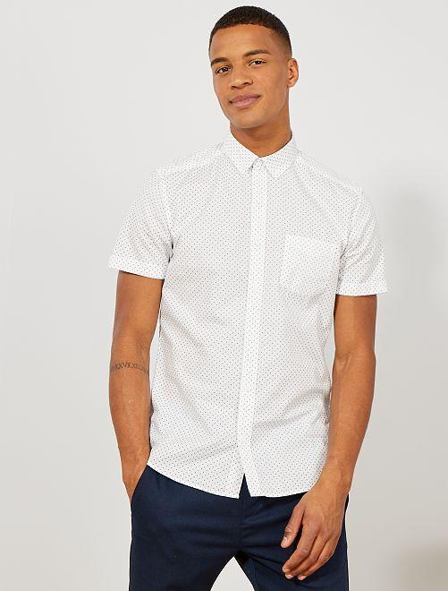 Camisa slim con estampado de triángulo                                                                                                                                                                                                                                                                             BLANCO Hombre