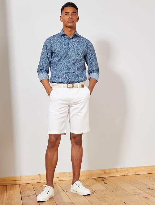 Camisa slim con micromotivo                                         AZUL Hombre