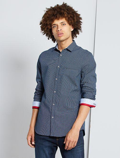 Camisa slim con micromotivo                                         AZUL
