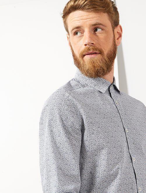 Camisa slim con micromotivo                                         BLANCO Hombre