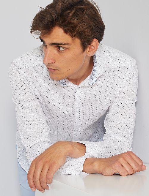 Camisa slim con micromotivo                                         BLANCO