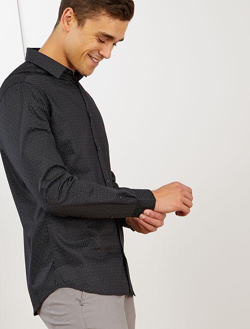Camisa slim con micromotivo étnico                             NEGRO