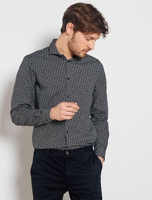 Camisa slim con micromotivo                                         NEGRO