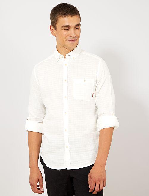 Camisa slim con textura                                         blanco