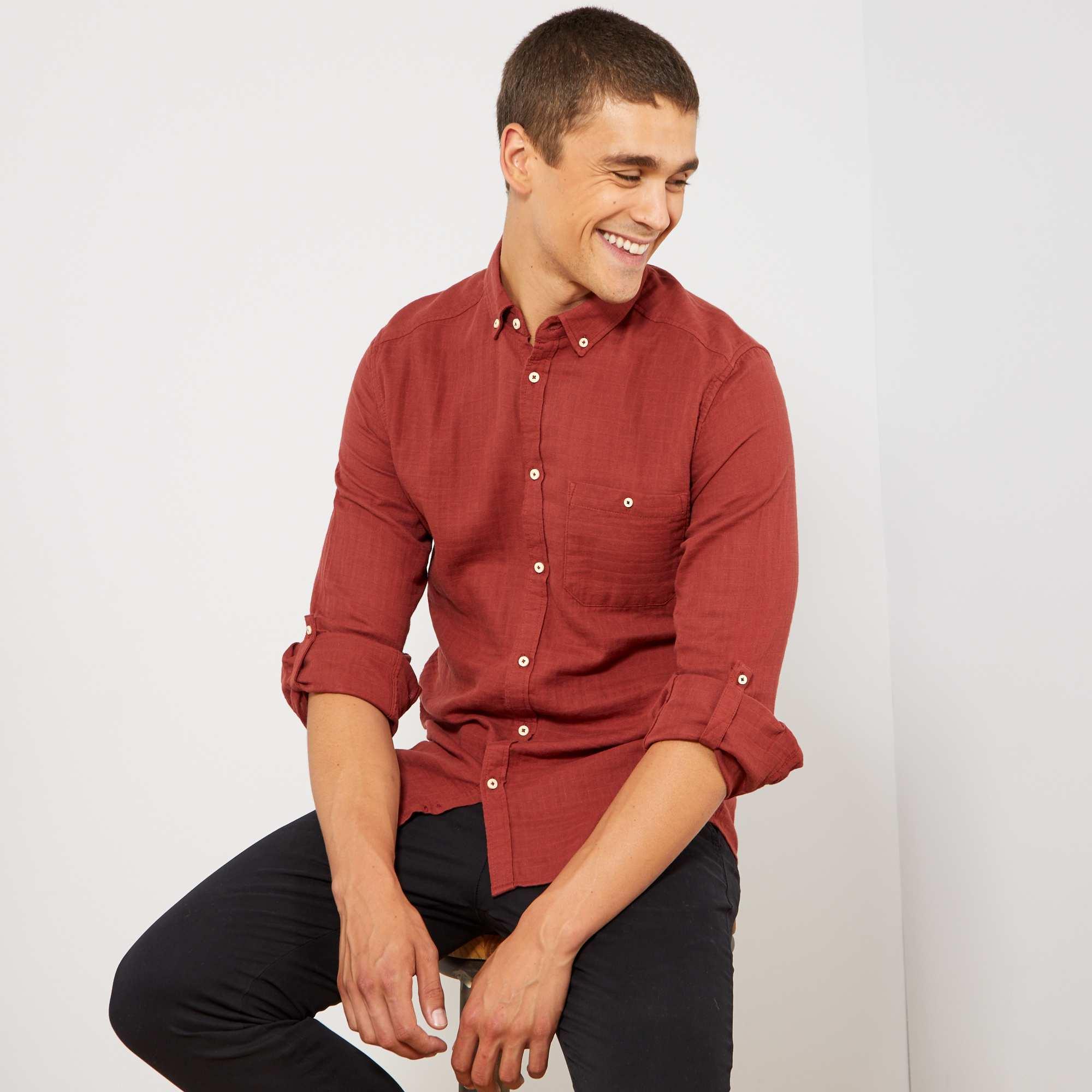 5040d73a Camisa slim con textura Hombre - MARRON - Kiabi - 15,00€