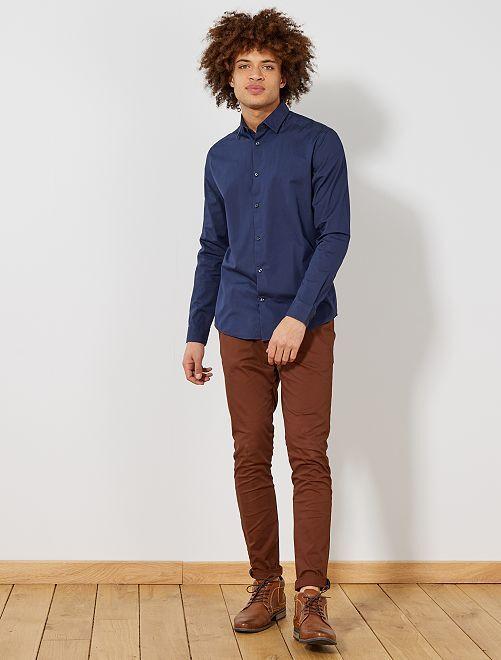 Camisa slim de algodón                                         azul marino