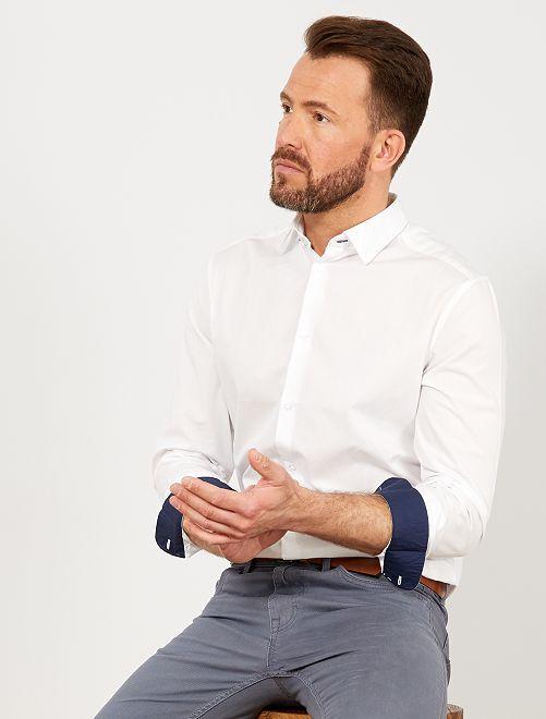 Camisa slim de algodón                                         blanco Hombre