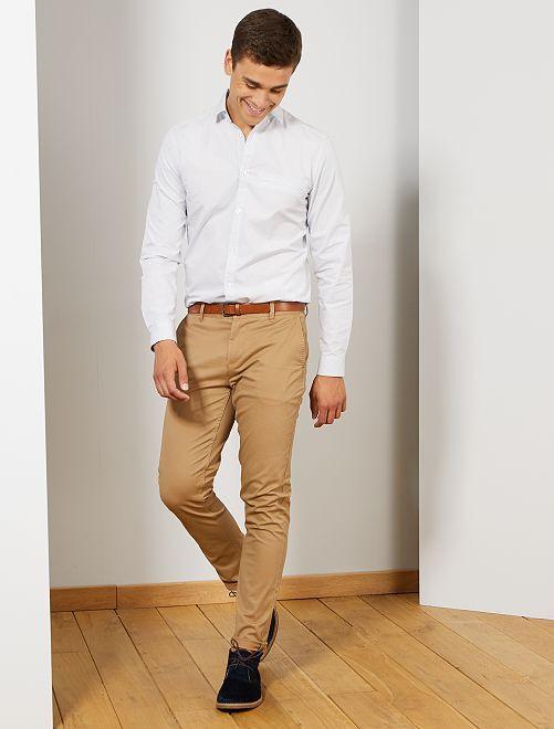 Camisa slim de algodón dobby                                         BLANCO