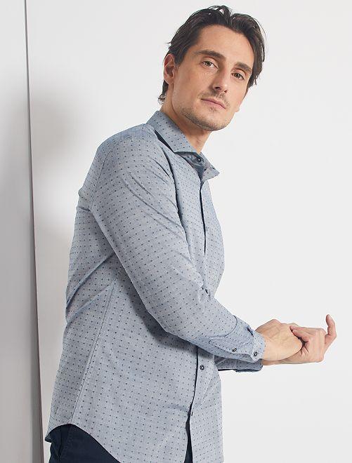 Camisa slim de algodón dobby                             gris