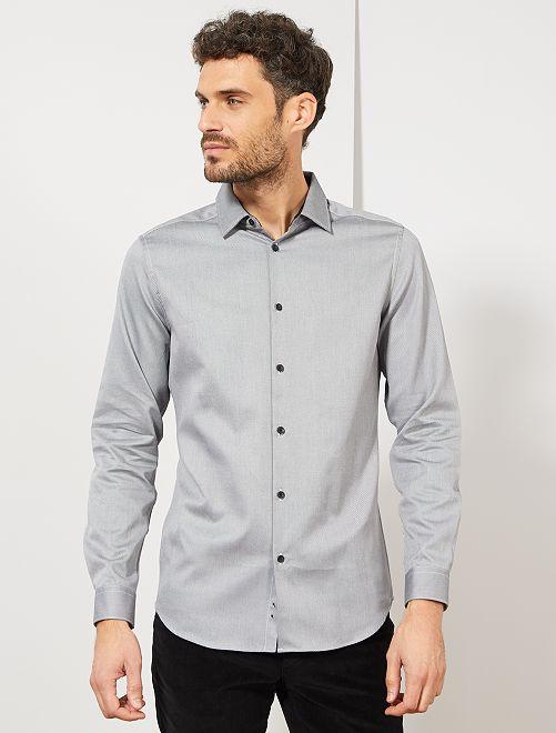 Camisa slim de algodón                                         NEGRO