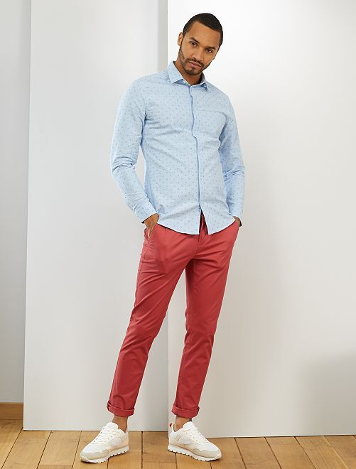 Camisa slim de algodón oxford                                                                                         AZUL