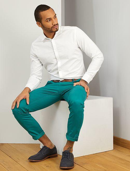 Camisa slim de algodón oxford                     blanco