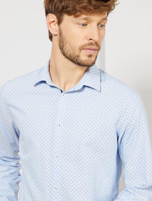 Camisa slim de algodón Oxford con micromotivos                                                                 AZUL
