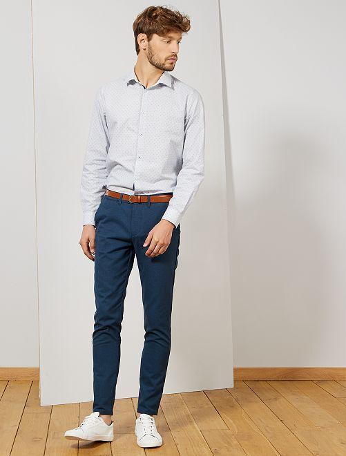 Camisa slim de algodón Oxford con micromotivos                                                     BLANCO