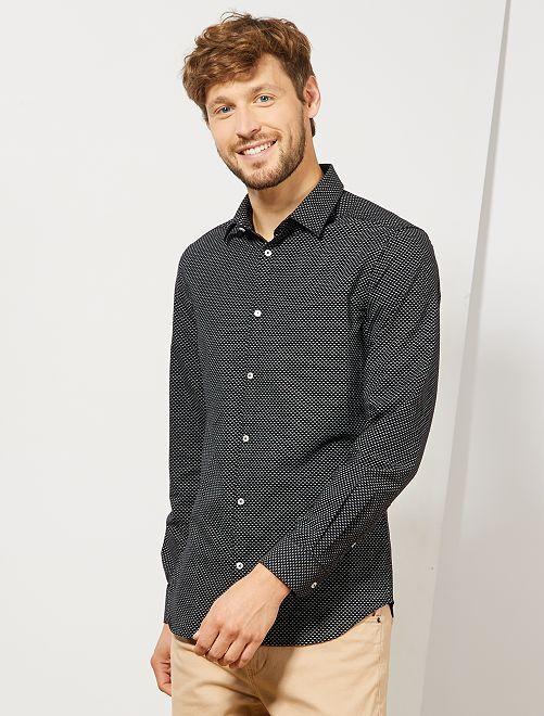 Camisa slim de algodón Oxford con micromotivos                                                                 NEGRO