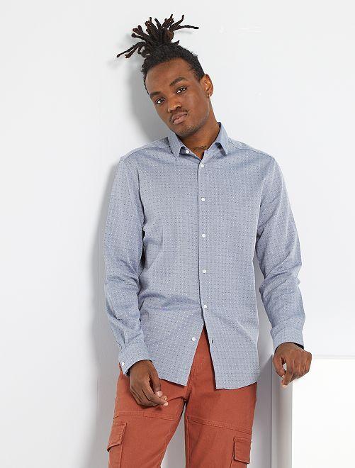 Camisa slim de algodón puro con motivo                             GRIS