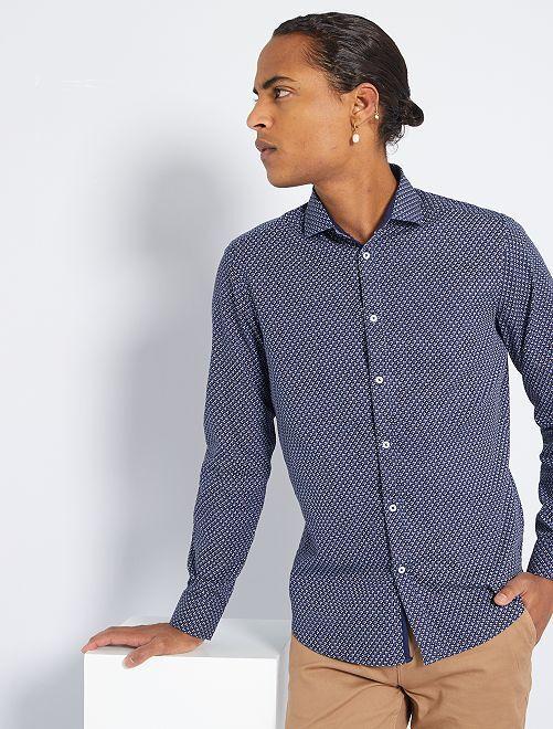 Camisa slim de algodón puro                                         NEGRO