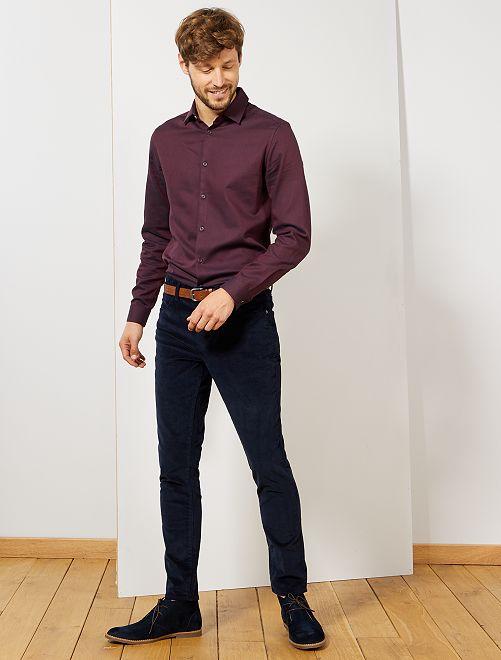 Camisa slim de algodón                                         ROJO