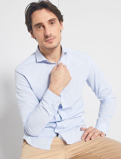 Camisa slim de algodón y lino                             AZUL
