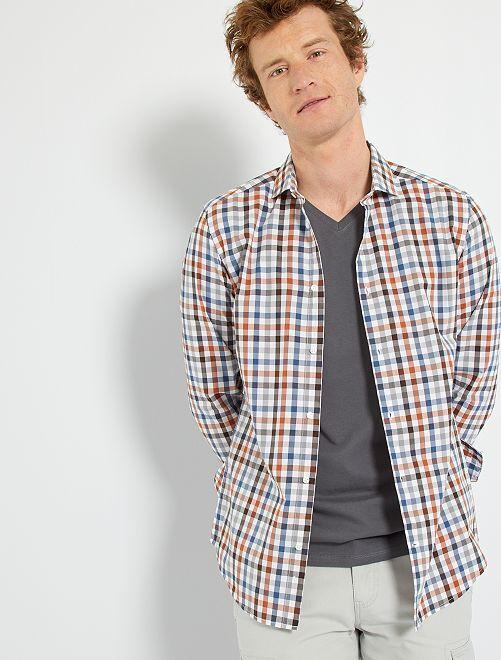 Camisa slim de cuadros                             AZUL