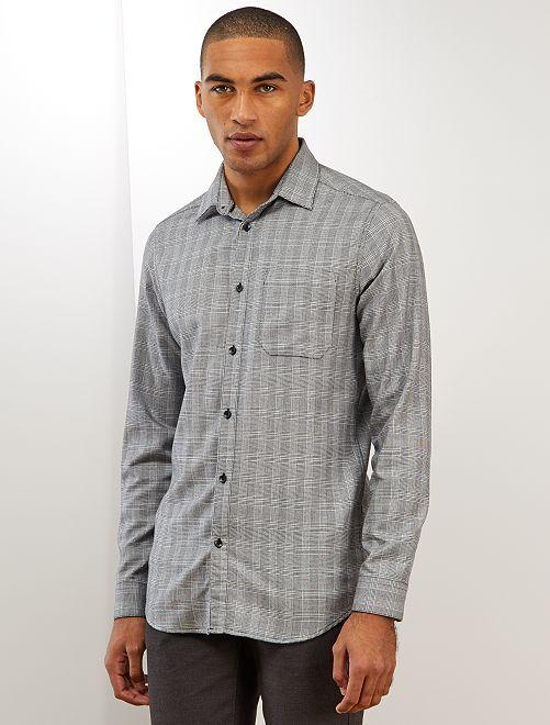 Camisa slim de cuadros                                                     BLANCO