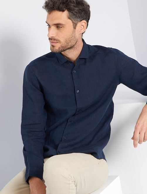Camisa slim de lino                                 NEGRO