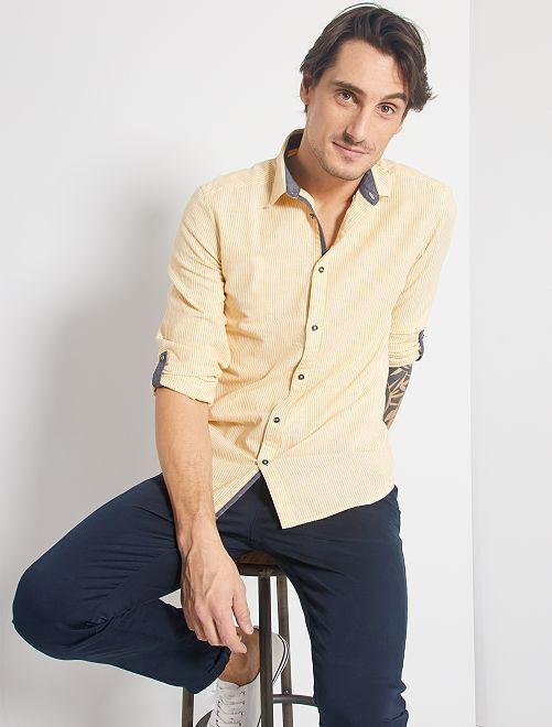 Camisa slim de lino y algodón                                                                 AMARILLO