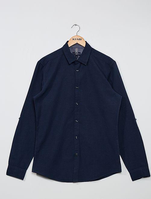 Camisa slim de lino y algodón                                                                 AZUL