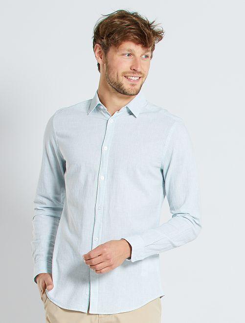 Camisa slim de lino y algodón                             blanco