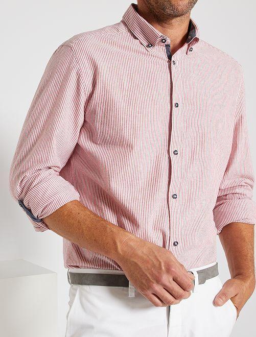 Camisa slim de lino y algodón                                                                 ROJO
