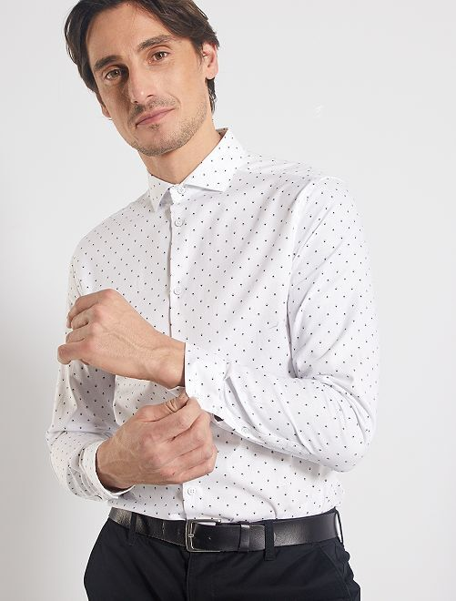 Camisa slim de piqué                             blanco