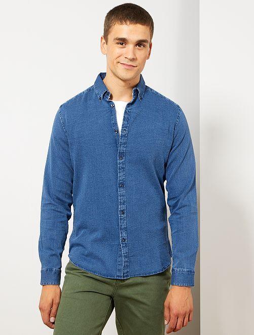 Camisa slim de piqué de algodón                                         AZUL Hombre