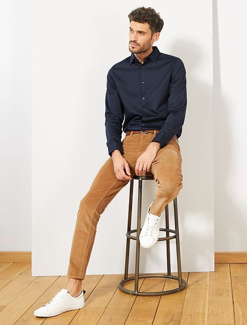 Camisa slim de raso de algodón                                                                 AZUL