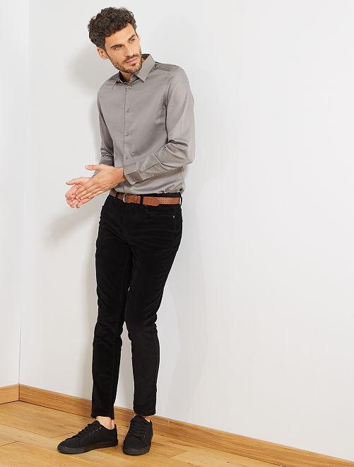 Camisa slim de raso de algodón                                                     gris ratón