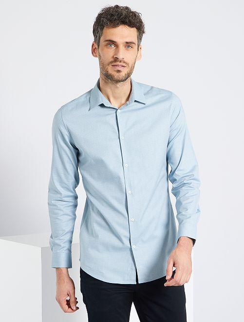 Camisa slim 'eco-concepción'                                                                 azul