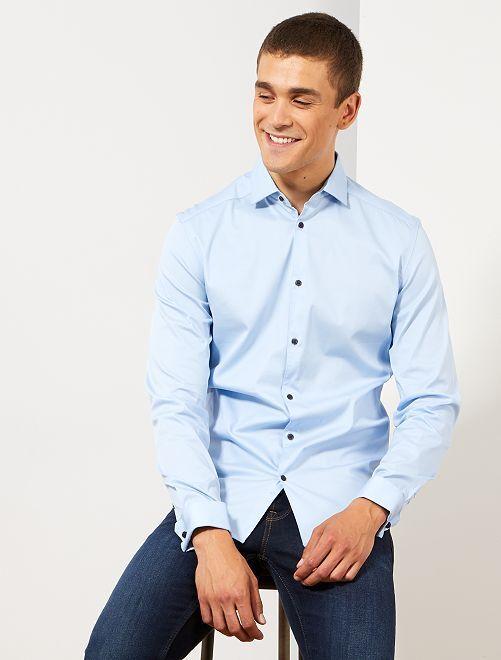 Camisa slim elástica                                         AZUL