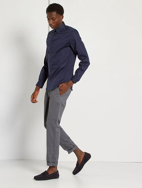 Camisa slim elástica                                                     azul navy