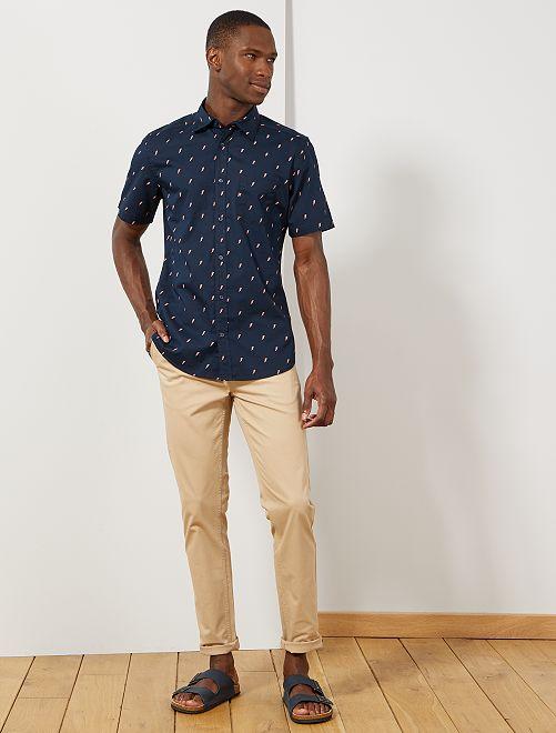 Camisa slim estampada                                                                                                                                                                                                                                         AZUL Hombre