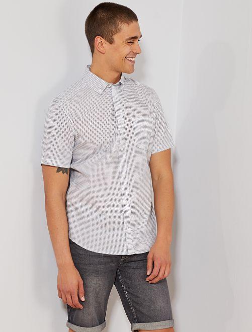 Camisa slim estampada                                                                                                                                                                                                                                                     BLANCO Hombre