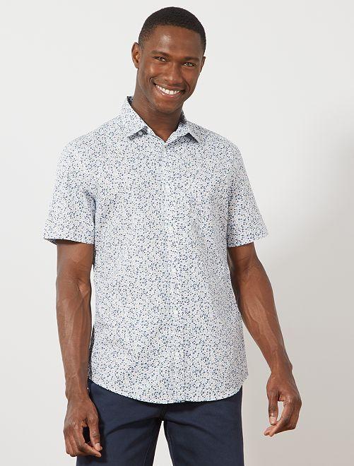 Camisa slim estampada                                                                                                                             BLANCO