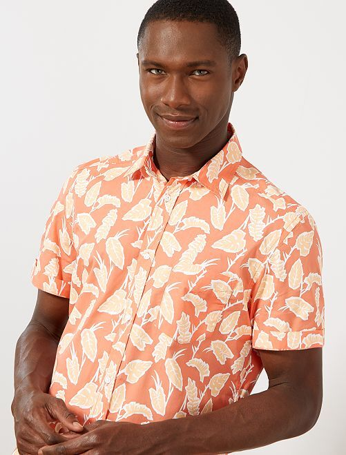 Camisa slim estampada                                                                                                                                         ROSA Hombre