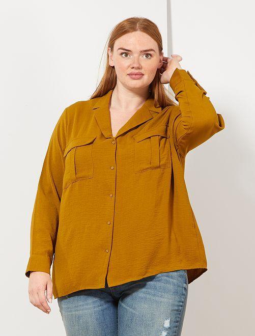 Camisa vaporosa bolsillos grandes                                         MARRON