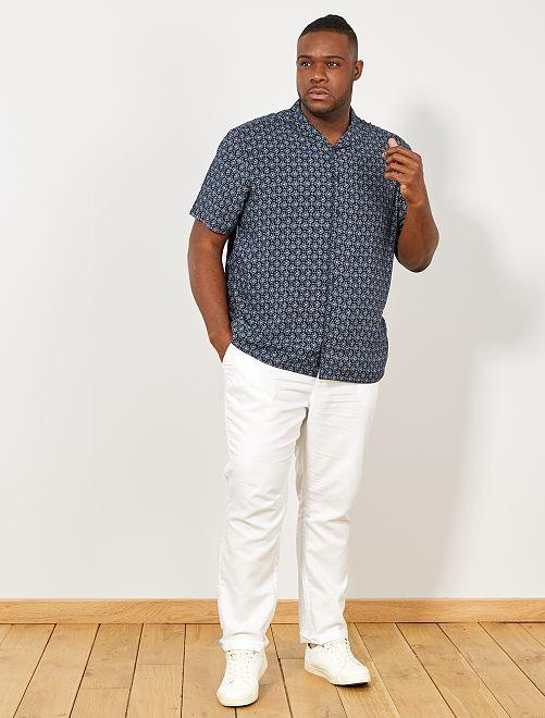 Camisa vaporosa con estampado étnico                             AZUL Tallas grandes hombre