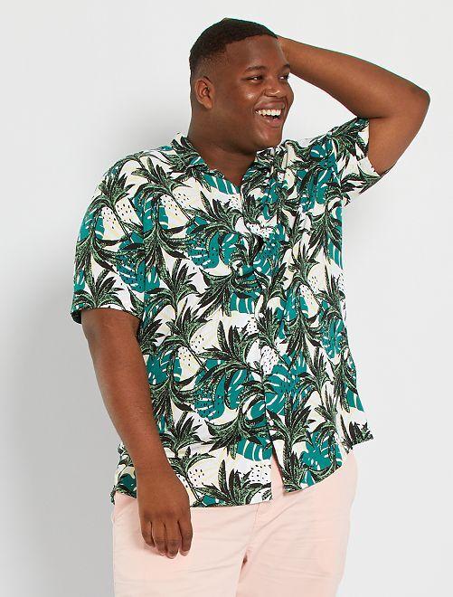 Camisa vaporosa con estampado tropical                                                                 BLANCO