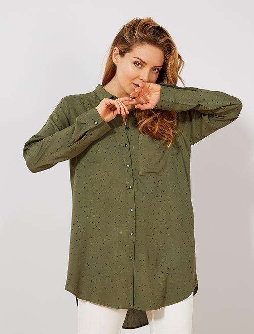 Camisa vaporosa estampada                                         NEGRO Mujer talla 34 a 48